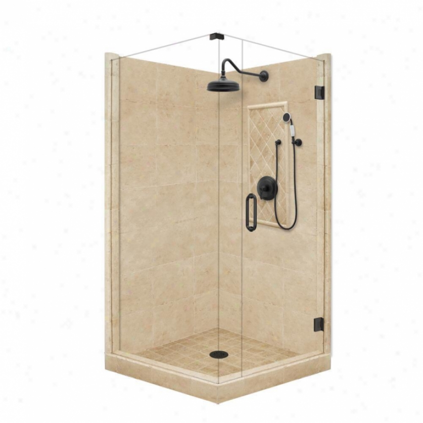 American Bath Factory P21-3511p-ob 54l X 34w Garnd Shower Package With Old World Harden Accessorie