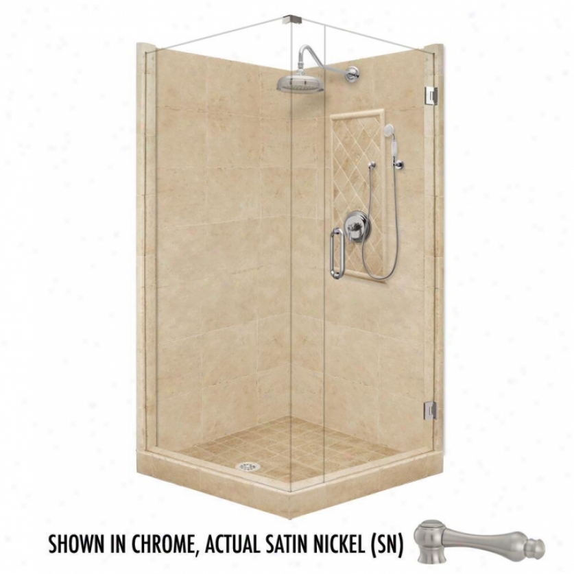 American Bath Factory P21-3513p-sn 60l X 34w Grand Shower Bundle With Satin Nickel Accessories