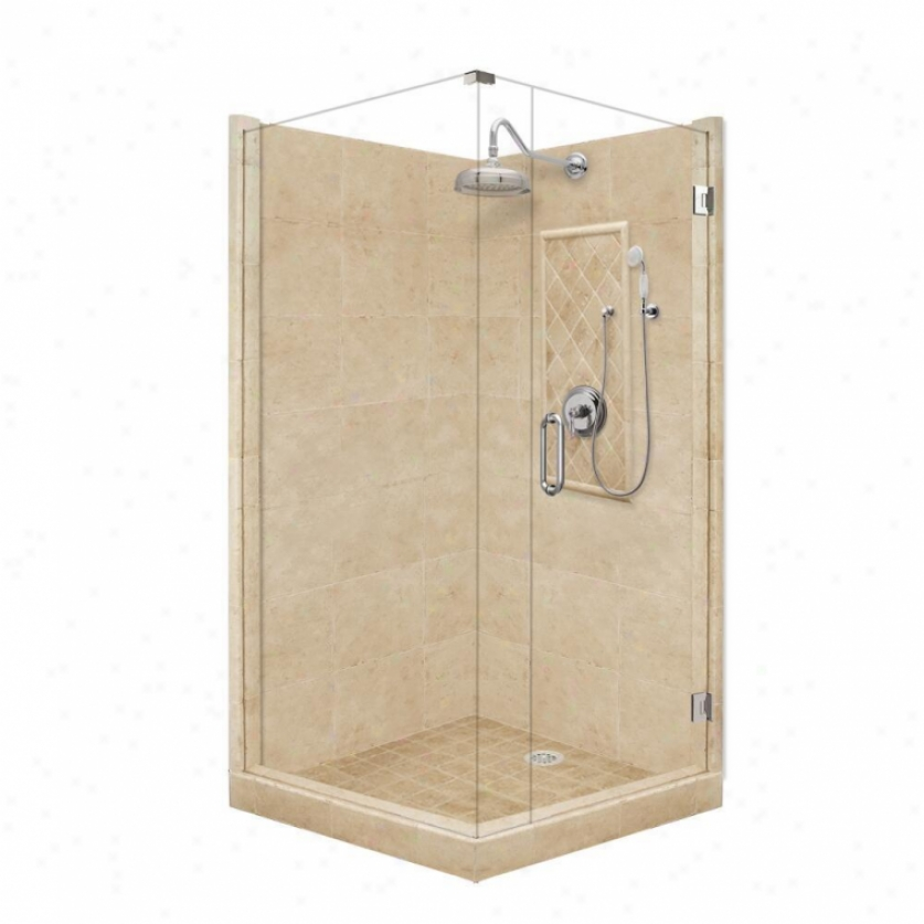 American Bath Factory P21-3514p-ch 60l X 34w Grand Shower Package With Chrome Accessories