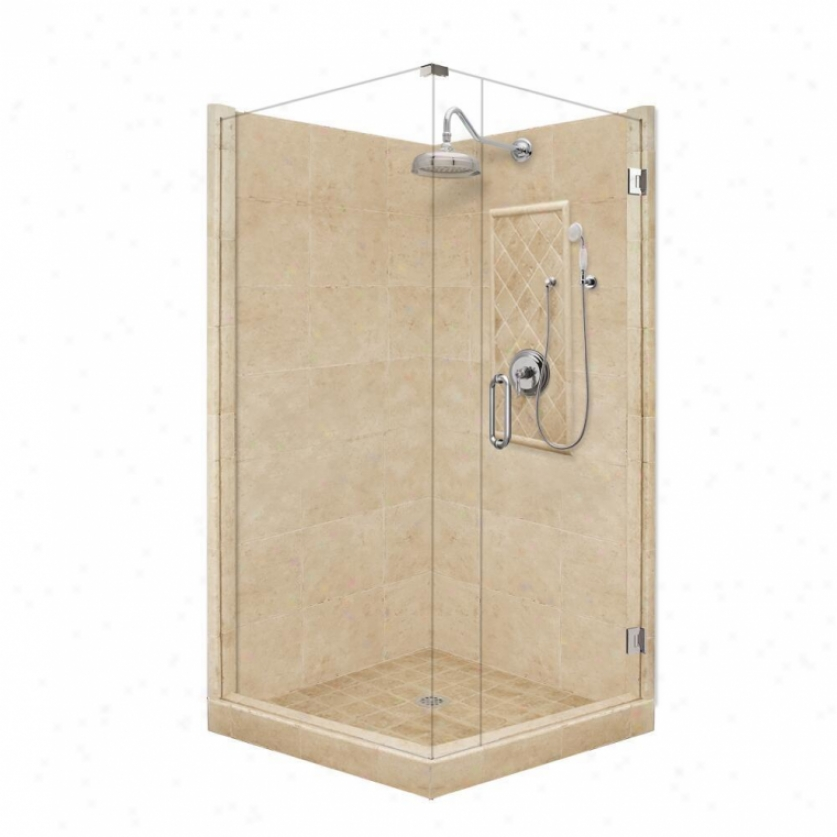 American Bath Factory P21-3518p-ch 48l X 36w Grand Shower Package With Chrome Accessroies