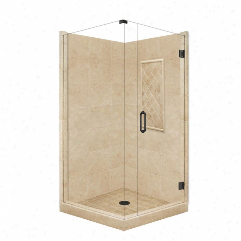 American Bath Factory P21-3605p-ob 48l X 32w Supreme Shower Package With Old World Bronze Acceessor