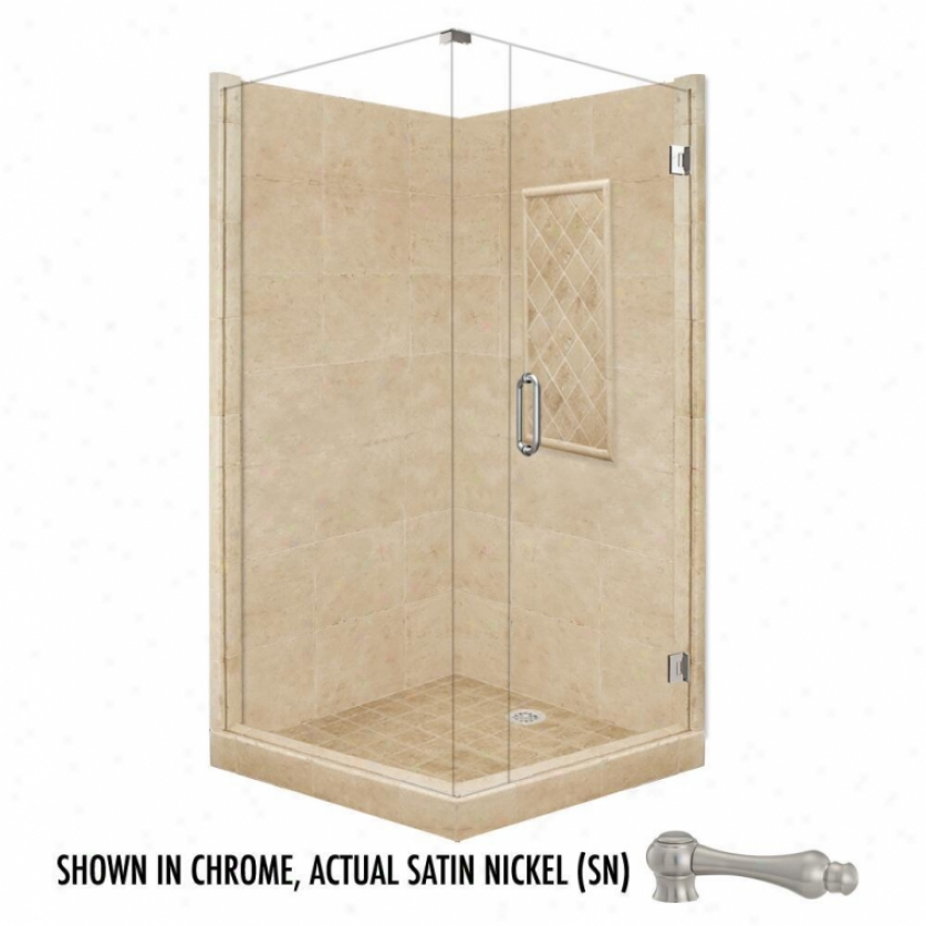 American Bath Factory P21-3609p-sn 60l X 32w Supreme Shower Package With Satin Nickel Accessories