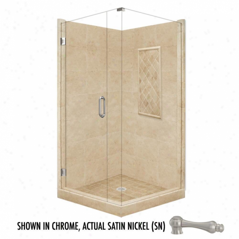 American Bath Factory P21-3617p-sn 48l X 36w Supreme Shower Package With Satin Nickel Acvessories