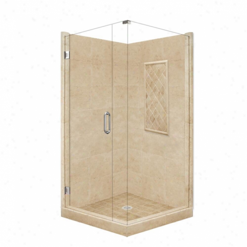American Bath Factory P21-3633p-ch 48l X 48w Supreme Shower Package With Chrome Accessroies