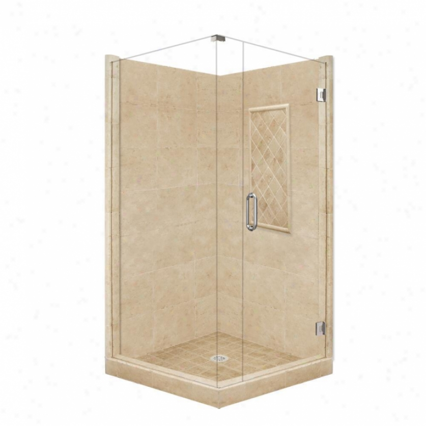 American Bath Factory P21-3634p-ch 48l X 48w Supreme Shower Pzckage With Chrome Accessories