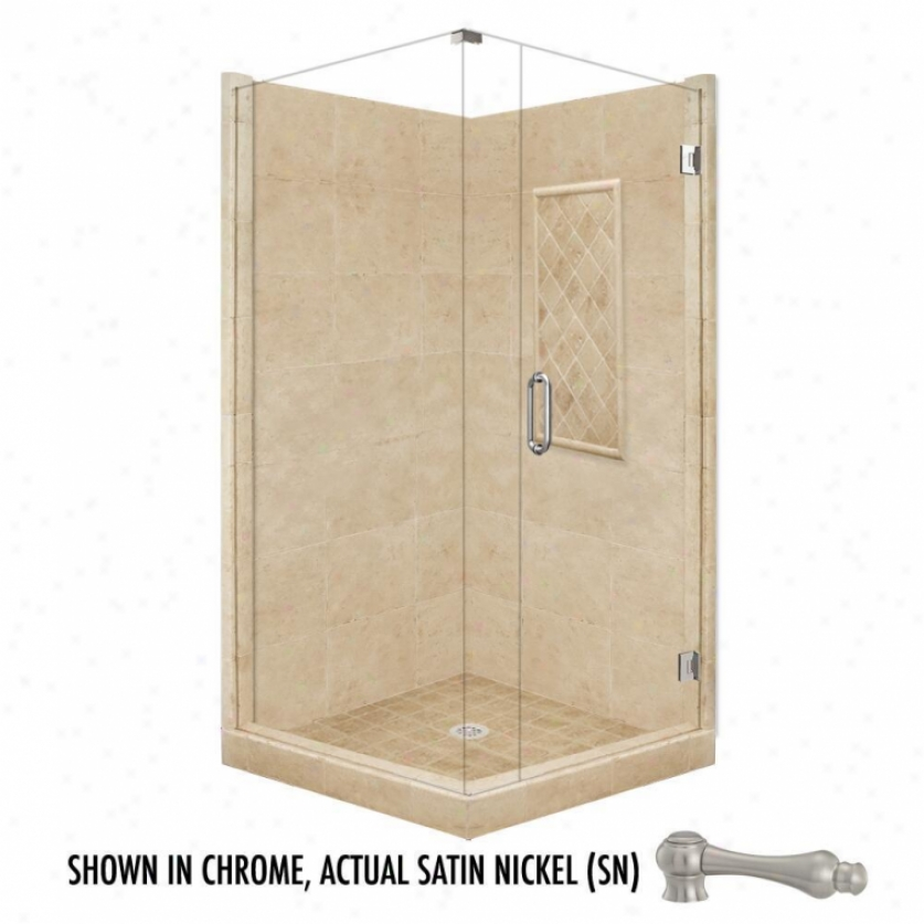 Ajerican Bath Factory P21-3634p-sn 48l X 48w Supreme Shower Package With Satin Nickel Accessories