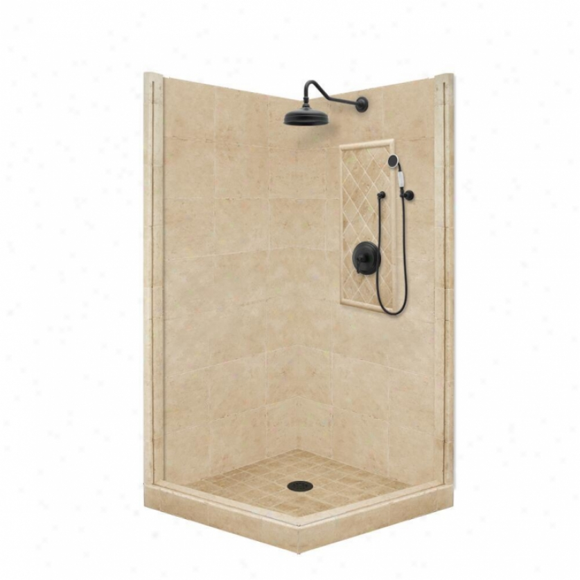 American Bath Factory P21-3707p-ob 60l X 32w Premium Shower Package With Old World Bronze Accessor