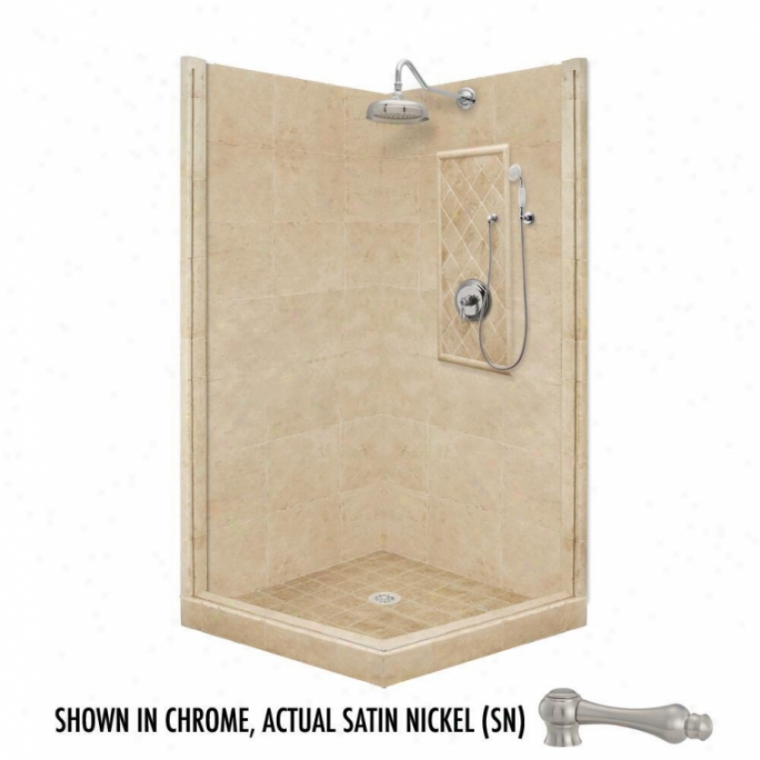 American Bath Factory P21-3711p-sn 54l X 34w Premium Shower Package With Satin Nickel Accessories