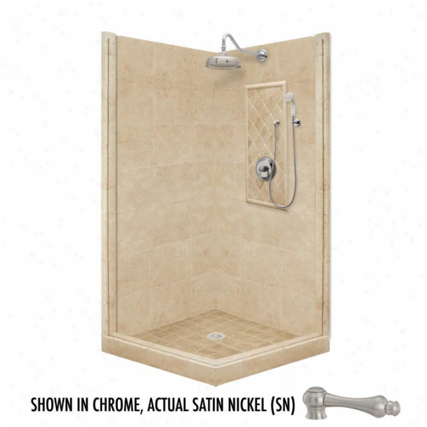 American Bath Factory P21-3718p-sn 60l X 36w Premium Shower Package With Satin Nickel Accessories