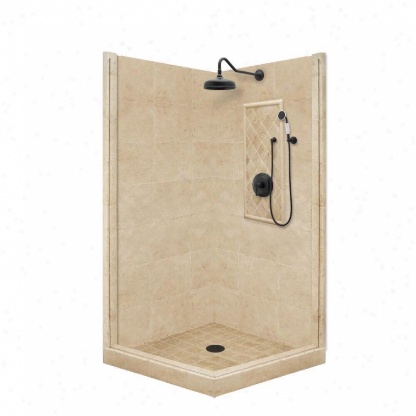 American Bath Factory P21-3722p-ob 48l X 42w Premium Shower Bundle With Old World Bronze Accessor