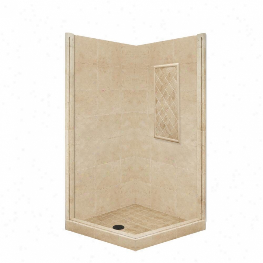 American Bath Factiry P21-3802p-ob 60l X 30w Basic Shower Package With Old World Bronze Accessorie