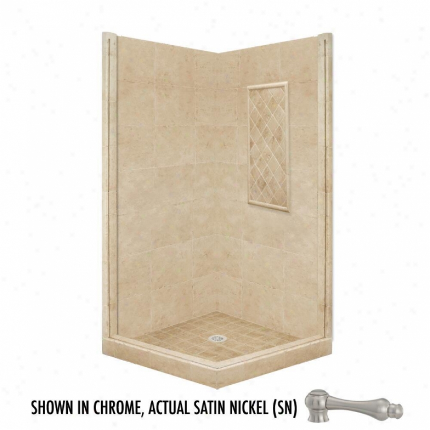 American Bath Factory P21-3807p-sn 60l X 32w Basic Shower Package With Satin Nickel Accessories