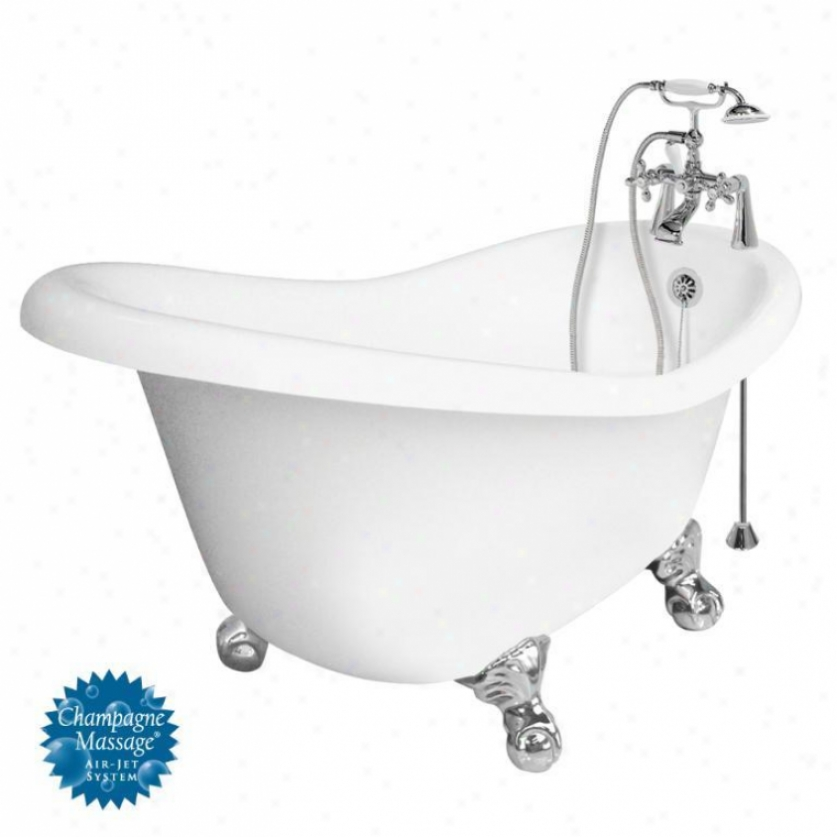 American Bath Factory T010d-ch-r Ascot Champagne Massage Bathtub Faucet Package 1 In Whhite