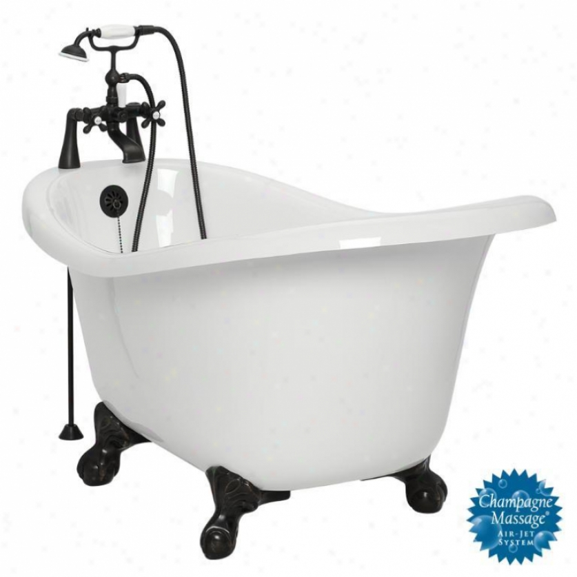 American Bath Factory T010d-ob-r Ascot Champagne Massage Bathtub Faucet Package 1 In White