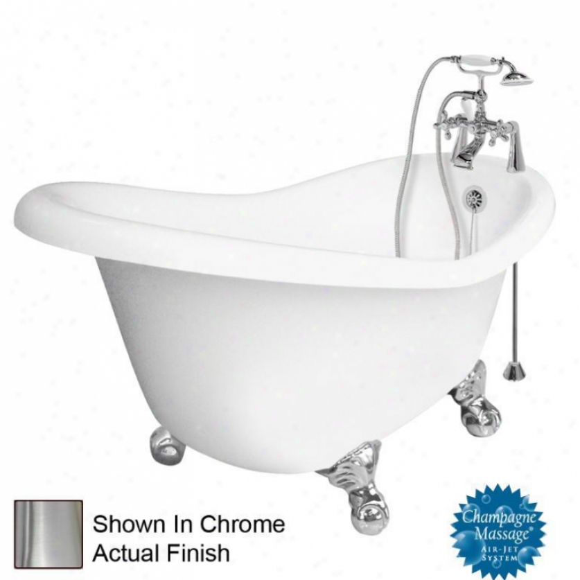 American Bath Factory T020d-sn-r Marilyn Champagne Massage Bathtub Faucet Package 1 In White