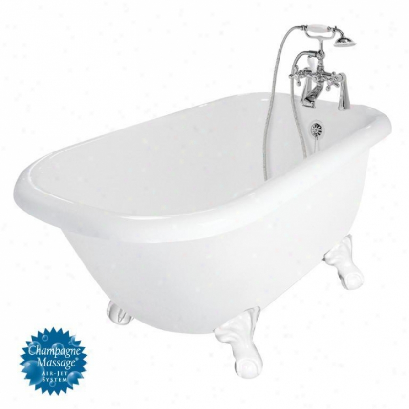 American Bath Factory T050d-wh-l Trinity Champagne Massage Bathtub Faucet Package 1 In White