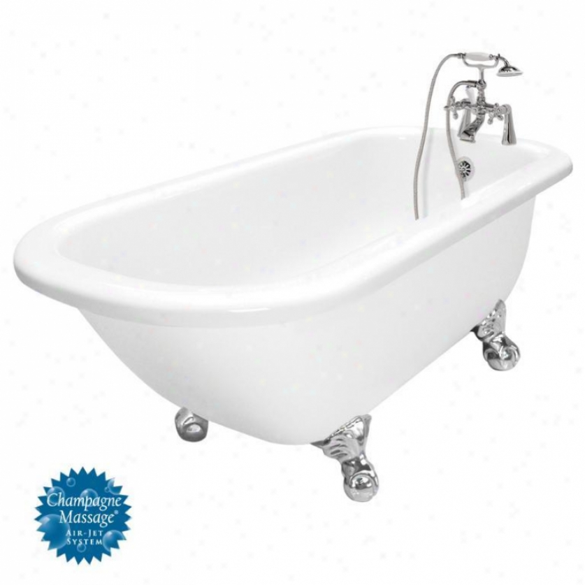 American Bath Factory T060d-ch-l Maverick Champagne Massaage Bathtub Faucet Package 1 In White