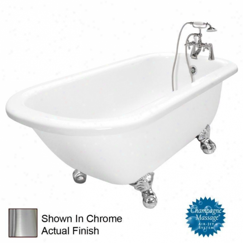 American Bath Manu~ T060d-sn-r Maverick Champagne Massage Bathtub Faucet Package 1 In White