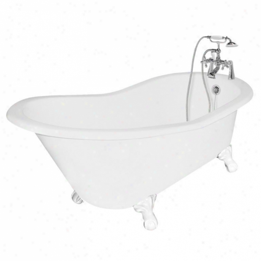 American Bath Factory T130b-wh Wintess Bathtub Faucet Package 1 In White