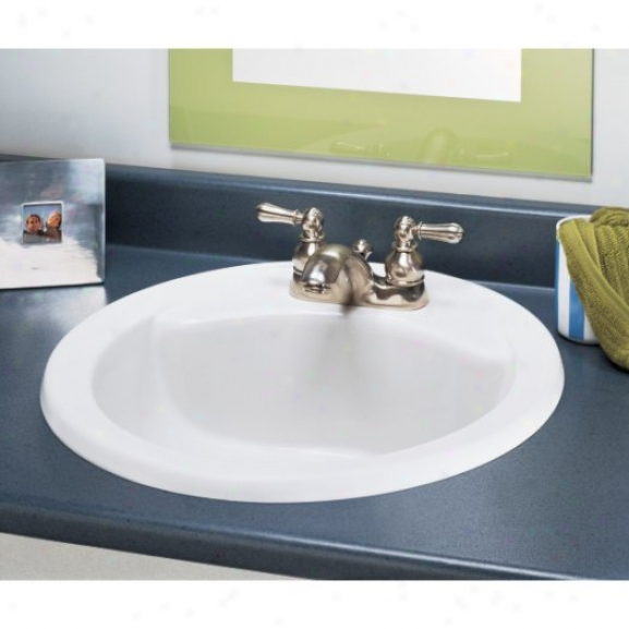 American Standard 0427.444.020 Cadet Round Countertop Sink With 4 Centers, White