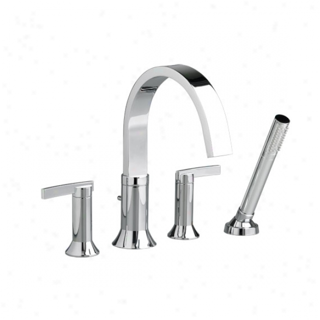 American Standard 7430.901.002 Berwick Deck-mount Tub Filler With Lever Handless And Personal Shower,