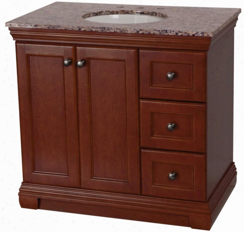 Belle Foret St36p2y-am Sutton 36 Vanity With Stone Goods Vanity Top In Santa Cecilia, Amber
