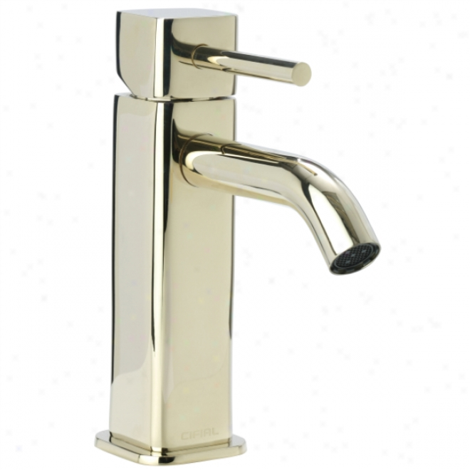 Cifial 224.100.x10 Techno Quadra 25 Single Handle Low Profile Lavatory Faucet, Pvd Brass