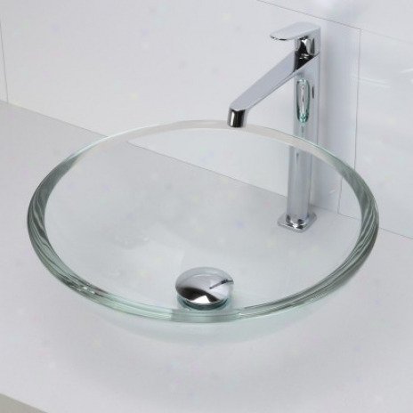 Decolav 1019t-tcr Round 19mm Glass Bottom Sink, Transparent Crystal