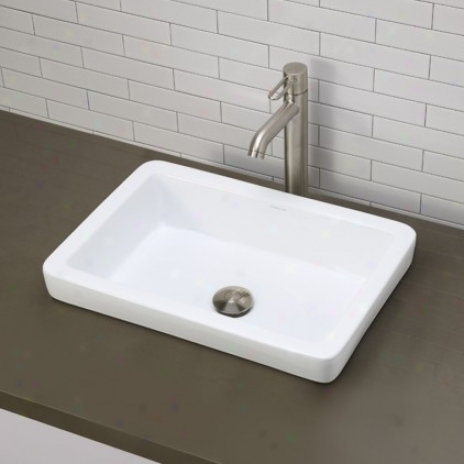 Decolav 1453-cwh Semi-recessed Rectangular Bathroom Sink, Ceramic White