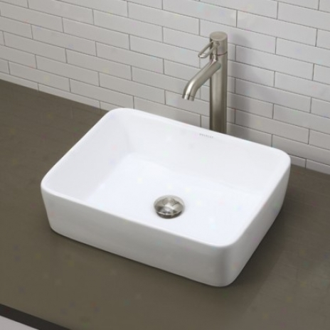 Decolav 1454-cwh Before Counter Rectangular Bathroom Sink, Ceramic Whkte