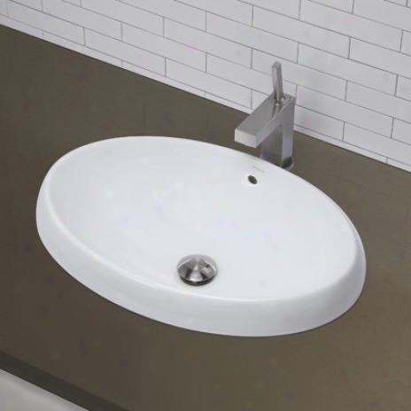 Decolav 1455-cwh Semi Recessed Oval Bathroom Sink, Ceramic White
