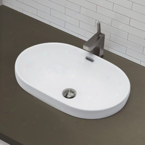 Decolav 1456-cwh Semi Recessed Oval Bathroom Sunk, Ceramix White