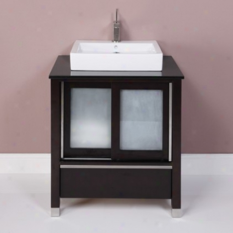 Decolav 5247-esp Tyson Vanity In Espresso Upon Granite Top In Carmello And Vitreous China Lavatory,