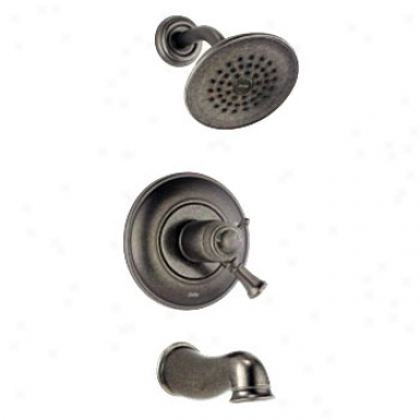 Delta T17t440-0t Lockwood Tempassure 17t Series Tub And Shower Trim, Aged Pewter