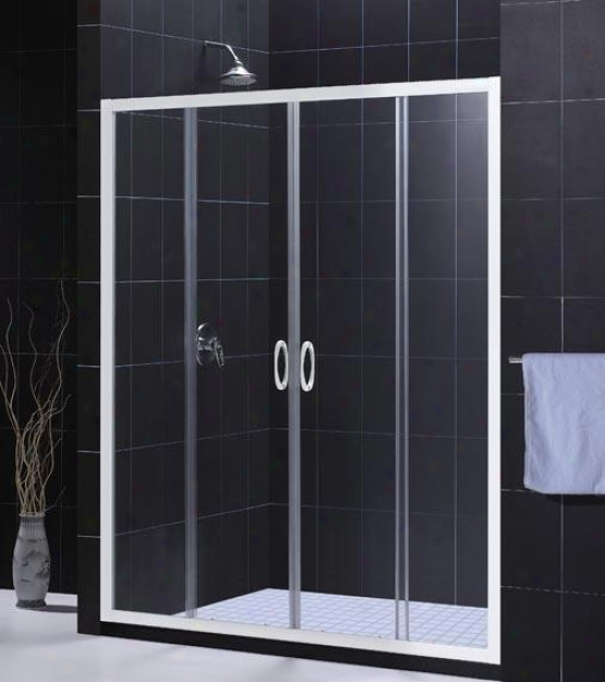 Dreamline Dl-6014c-04cl Vsiions Shower Door & Tray Combo, Brushed Nickel