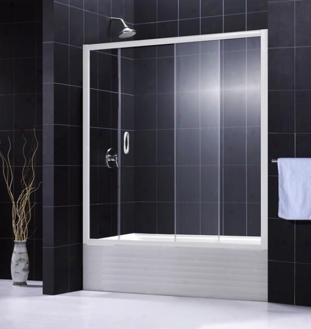 Dreamline Dl-6102-01cl Infinity Clear Glass Tub Door With Qwall-tub Backwall, Chrome