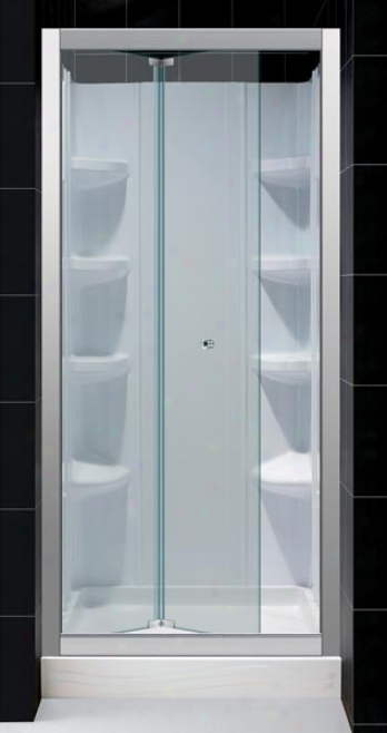 Deeamline Dl-6456c-01cl Butterfly Clear Glass Shower Door With 36 X 36 Trio Shower Base And Qwall-