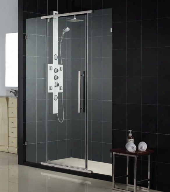 Dreamline Shdr-21467610-04 Vitreo 46 1/8 X 72 Clear Glass Frameless Swing Shower Dor, Brushed Nic
