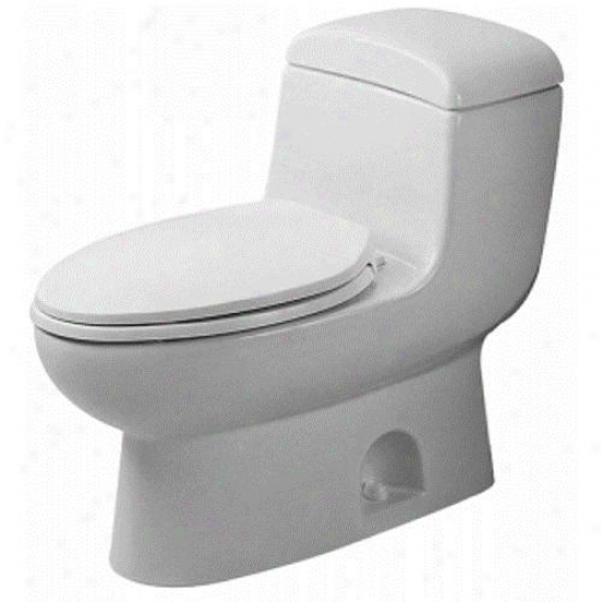 Duravit D0000700 Metro Succession Elongated Toilet, Alpine Happy