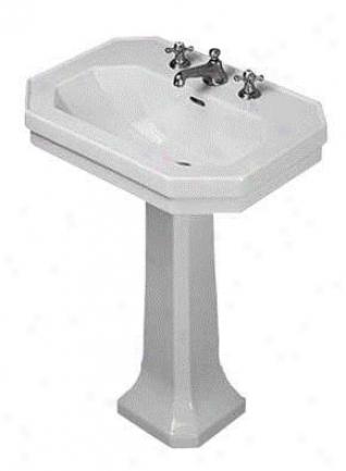 Durait D1000400 1930 Series 27 Washbasin Pedestal Sink, Alpine White
