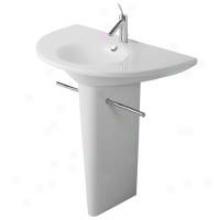 Duravit D16013 Sinfle Hole Washbasin With Pedistal Base, Wite