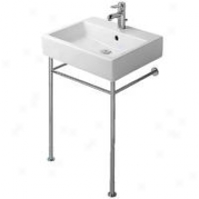 Duravit D17503 Vero 23-1/2 Three-hole Washbasin With Overflow And Chrome Metal Console Base, White