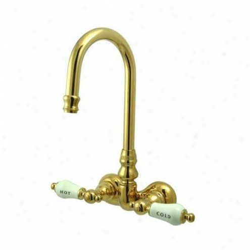 Elements Of Design Dt0712cl Hot Springs Wall Mount Clawfooy Tub Filler, Polished Brass