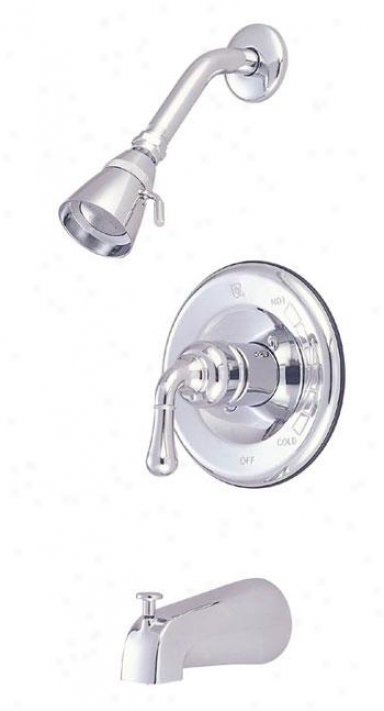 Elements Of Design Eb1634 Magellan Single Lever Handle Tub/shower Faucet, Chrome/polished Brass