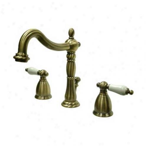 Elements Of Design Eb1976pl Heritage Wide Spread Lavatory Faucet, Porcelain Lever Handle, Polished N