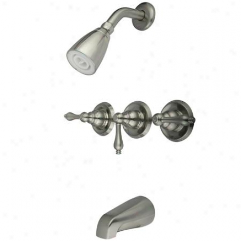 Elements Of Design Eb238al Magellan Three Handle Tub And Shower Faucet, Satin Nickel