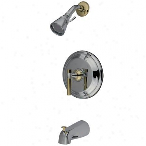 Elements Of Intention Eb2634jl New York Single Handle Tub And Shower Faucet, Polished Chrome And Polish