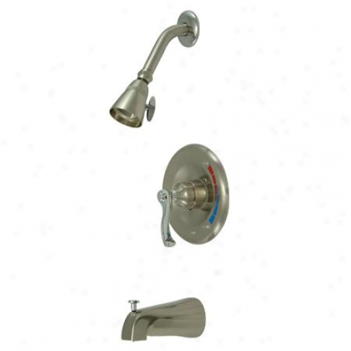 Elements Of Design Eb8637fl Atlanta Single Handle Tub And Shower Faucet, Satin Nickel And Polished C