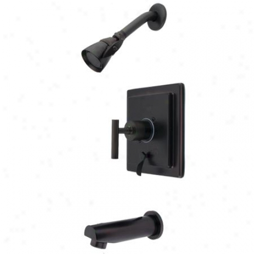 Elements Of Design Eb86550cml Manhattan Single Handle Tub And Shower Faucet, Oil Rubbed Bronze