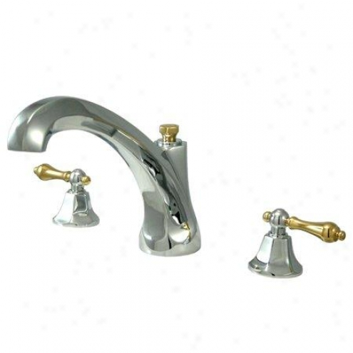 Elements Of Design Es4324al New York Two Handoe Roman Tub Filler, Polished Chrome And Polished Brass